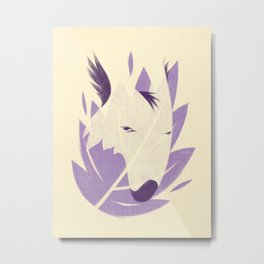 The Fox and the Leaf Metal Print