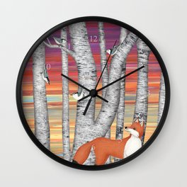 nuthatches and fox in the birch forest Wall Clock