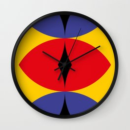 Yellow Wall. Three eye shaped windows. Apocaliptic background. Red Snake eye and two roads. Wall Clock