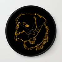 rottweiler Wall Clocks featuring Rottweiler #2 by Just Like A Breeze