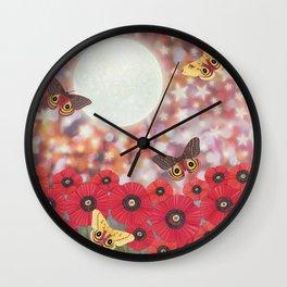 the moon, stars, io moths, & poppies Wall Clock