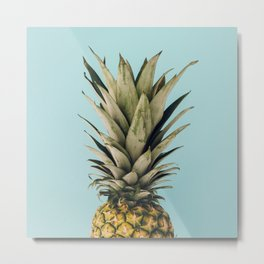 Tropical and blue pineapple Metal Print