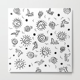 Doodle Drawing Seagulls Shells Sun - Black and White Metal Print
