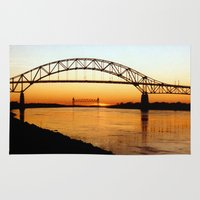 cape cod Area & Throw Rugs featuring Cape Cod Bourne Bridge by BravuraMedia
