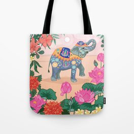 Elephant and Lotus Flowers Tote Bag