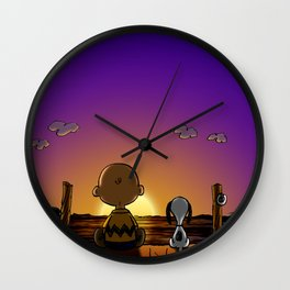 snoopy brown sunset Wall Clock
