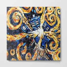 Tardis Exploded / Tardis Starry Night Puzzles Metal Print