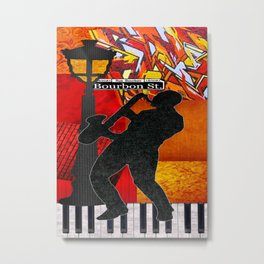 Bourbon St. Jazz Saxophone Player Metal Print