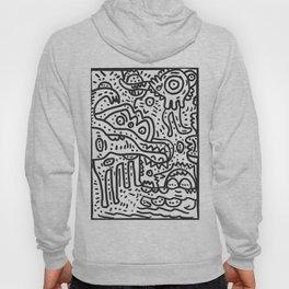 Cool Graffiti Art Doodle Black and White Monsters Scene Hoody