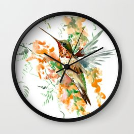 Hummingbird and orange flowers Wall Clock