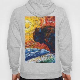 Bison Running print of OLena Art Wild the Storm Oil Painting With Palette Knife #society6 Hoody