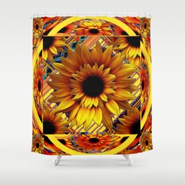 AWESOME GOLDEN SUNFLOWERS  PATTERN ART Shower Curtain