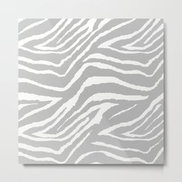 ZEBRA 2 GRAY AND WHITE ANIMAL PRINT Metal Print