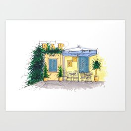 Bar Cafe Caffe in Trastevere in Rome hand-painted watercolor sketch Art Print