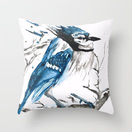 True Blue Jay Throw Pillow
