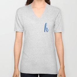 Cursive Letter H in Cobalt Blue Unisex V-Neck
