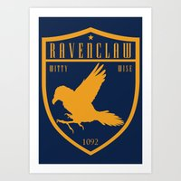 ravenclaw Art Prints featuring Ravenclaw Crest by machmigo
