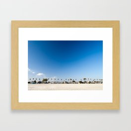 Beach front homes along the sand at Belmont Shore, CA Framed Art Print
