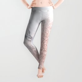 She Sparkles Rose Gold Pink Marble Luxe Geometric Leggings