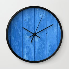 blue wood Wall Clock