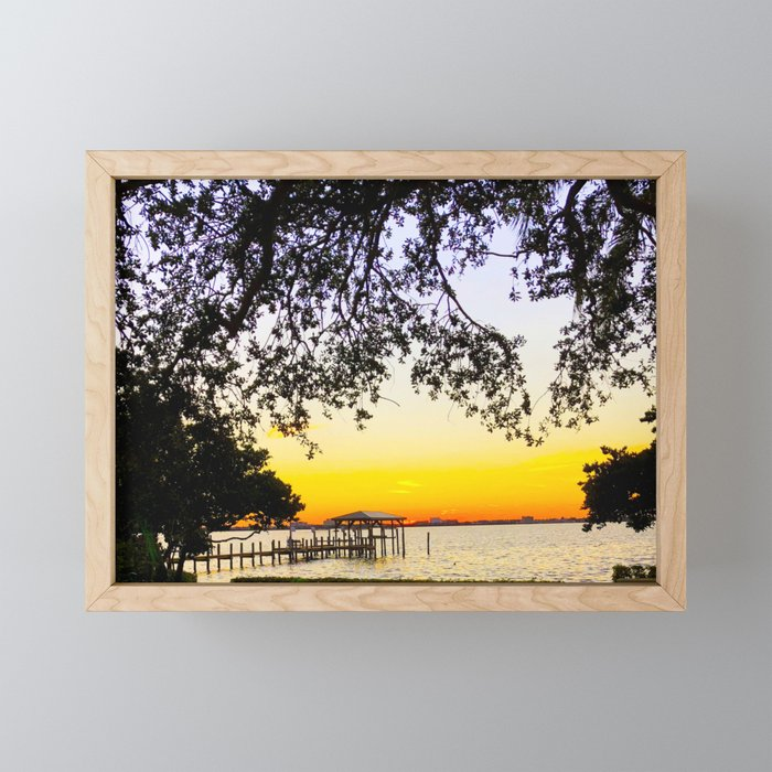 Summer Sunset Over the Bay Framed Mini Art Print