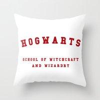 hogwarts Throw Pillows featuring Hogwarts by Fabian Bross