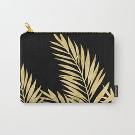 Palm Leaves Golden On Black Carry-All Pouch