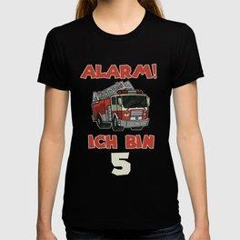 cute fire truck birthday shirt firefighter 5 T-shirt