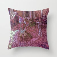 degas Throw Pillows featuring technicolor ballet class by MonicaKay