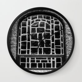 B&W Stained Glass Wall Clock