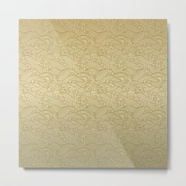 Golden Waves in Golden Metal Print