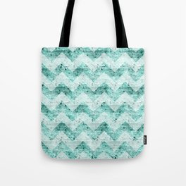 Teal Wood Chevron  Tote Bag