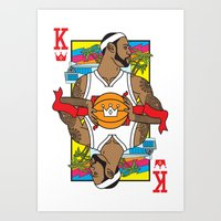 lebron Art Prints featuring King James by Bobby Bernethy