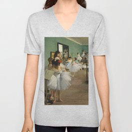 The Dance Class (1874) painting in high resolution by Edgar Degas Unisex V-Neck
