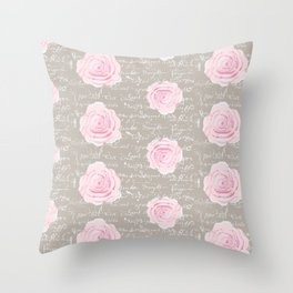 Watercolor roses on Taupe with French script Throw Pillow