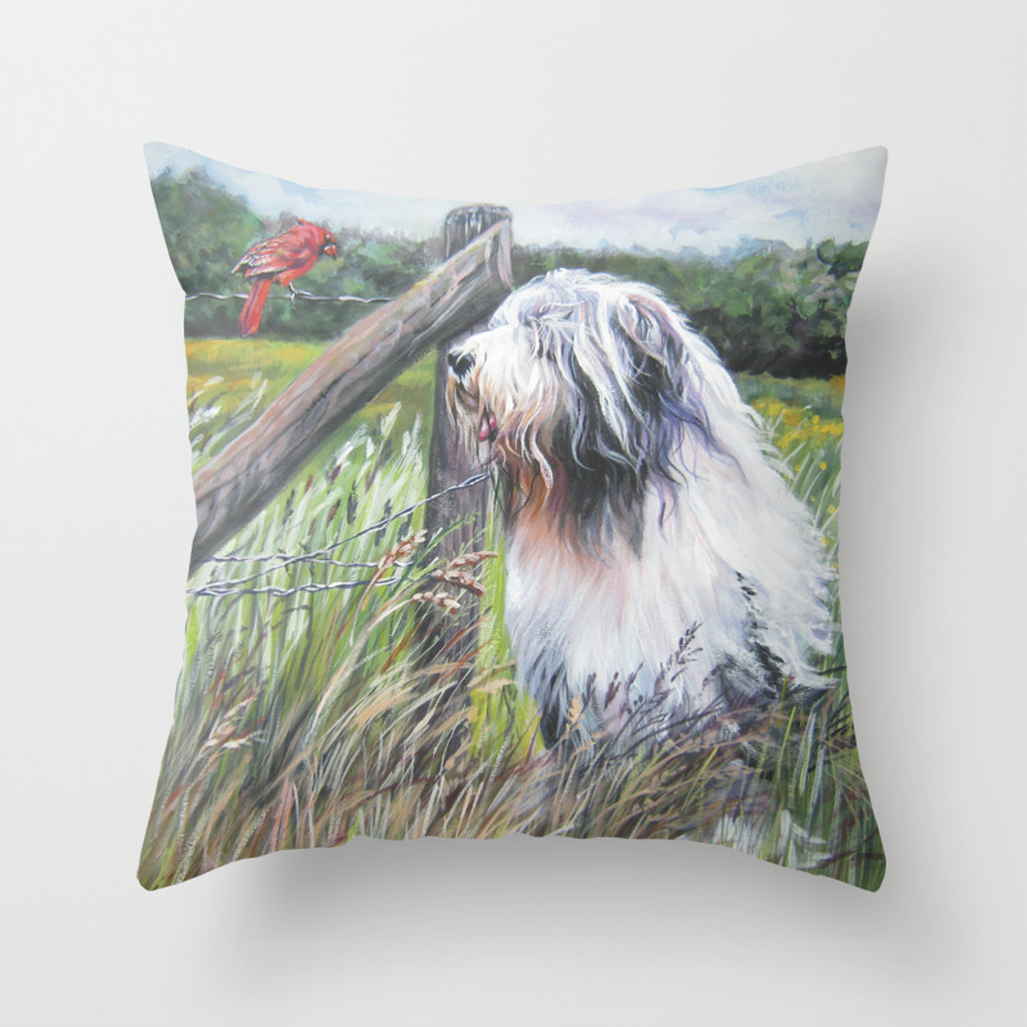 Beautiful Bearded Collie Dog Art From An Original Painting By L A Shepard Throw Pillow By Thedoglover Society6