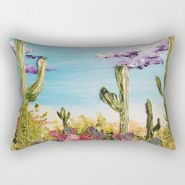 Colorful Desert Landscape, Cactus Landscape, High Desert, Beautiful Desert, Desert scape, Bright Rectangular Pillow