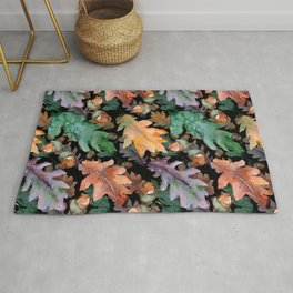Colorful Woodland Watercolor Oak And Acorn Pattern Rug