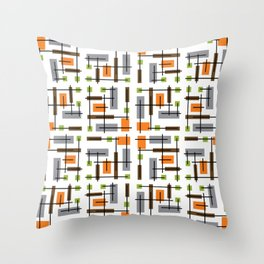 Mid Century Modern Geometric Pattern Throw Pillow