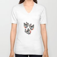 butterflies V-neck T-shirts featuring Butterflies by Wood + Ink