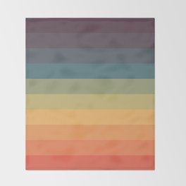 Colorful Retro Striped Rainbow Throw Blanket