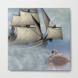 Fantasy seascape, ship and swan Metal Print