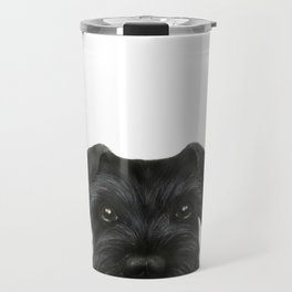 New Black Schnauzer, Dog illustration original painting print Travel Mug