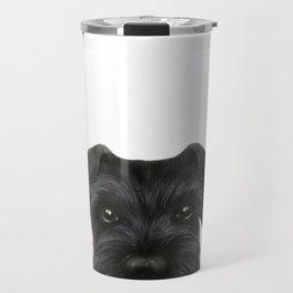 New Black Schnauzer, Dog illustration original painting print Travel Mug