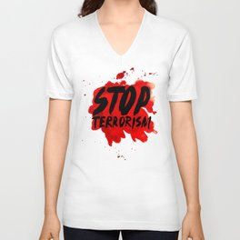 Stop terrorism Unisex V-Neck