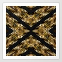 Black Gold   Tribal Geometric Art Print