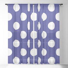 Geometric Candy Dot Circles - White on Navy Blue Sheer Curtain