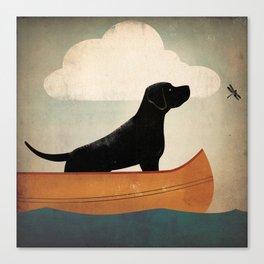 Black Lab Labrador Retriever Dog Canoe Ride Canvas Print