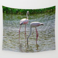 flamingos Wall Tapestries featuring Flamingos by CrismanArt