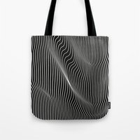 Tote Bags featuring Minimal curves black by Leandro Pita